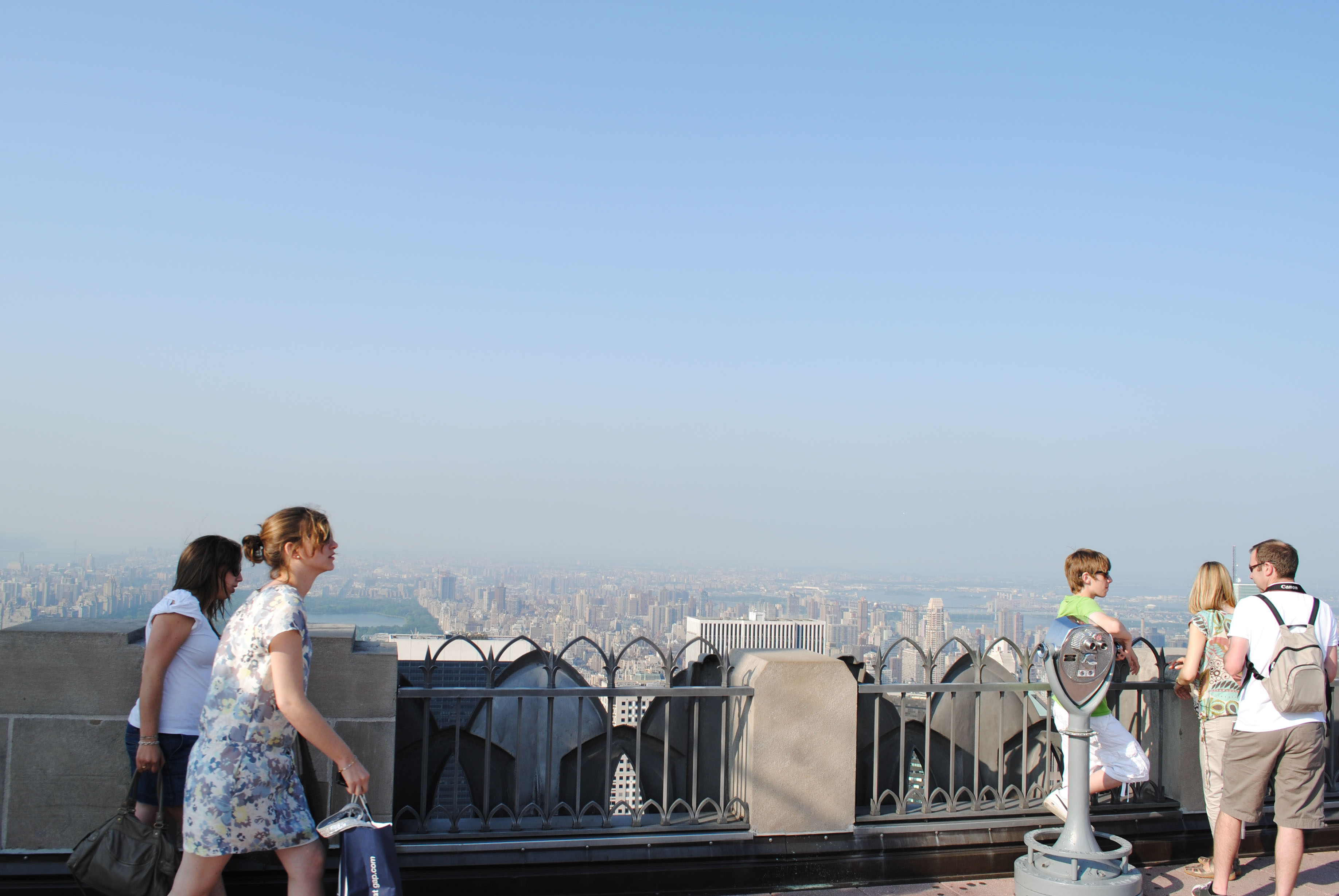 Enjoying the 360 degree views at the Top of The Rock