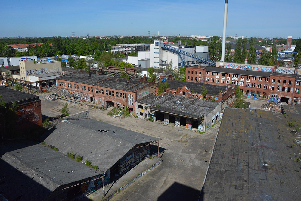 abandoned brewery from above