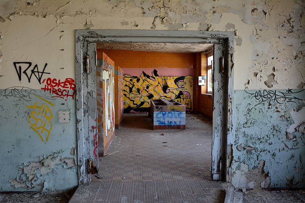 abandoned cable factory Berlin womens locker room