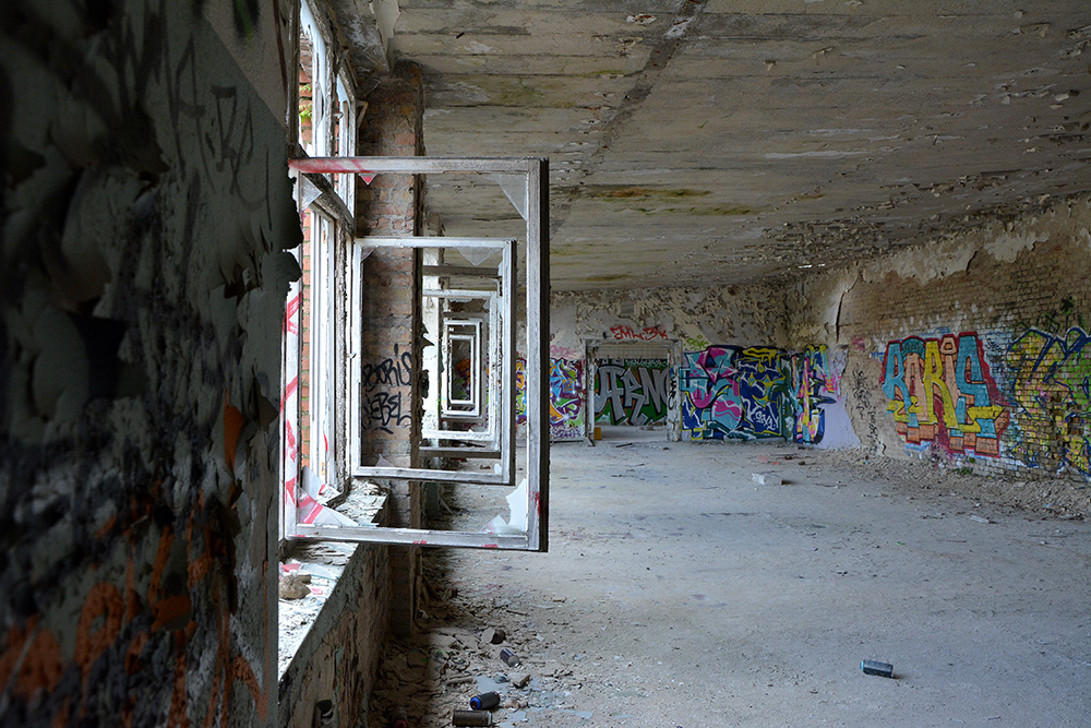 abandoned cable factory locker room