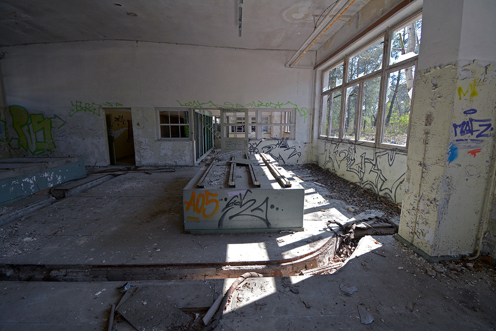 abandoned school cafeteria
