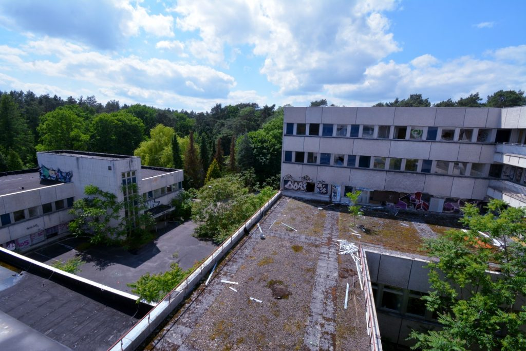 abandoned general hospital from above