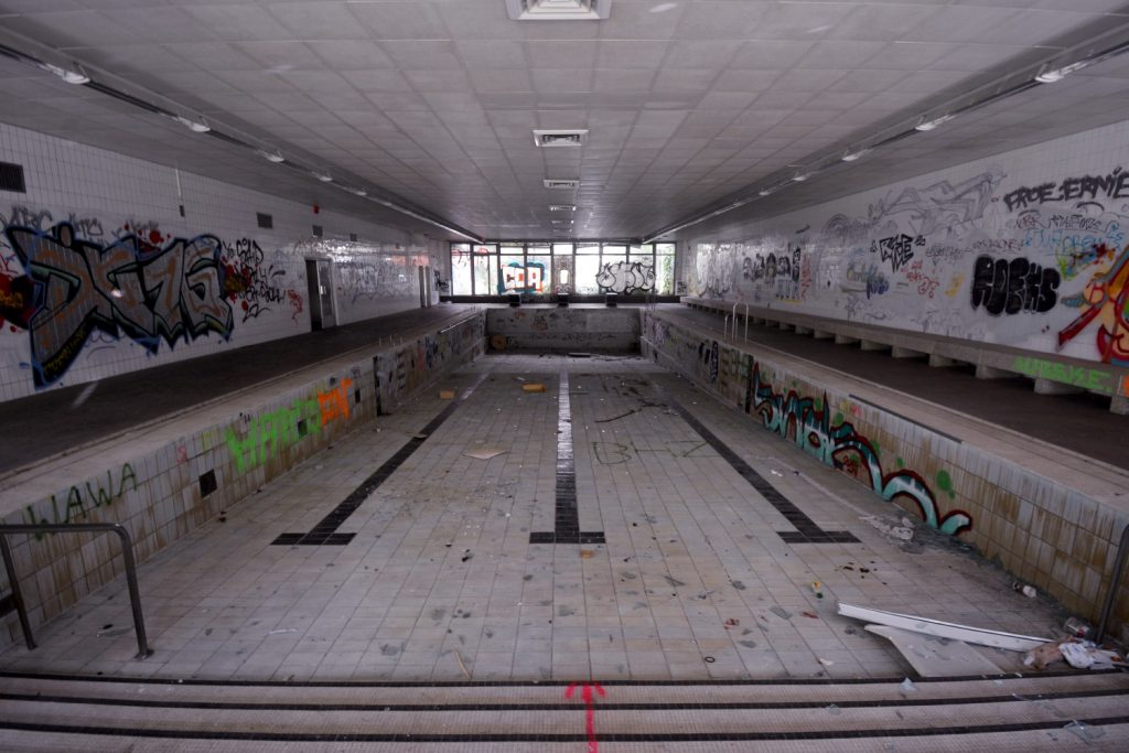abandoned swimming pool in a hospital